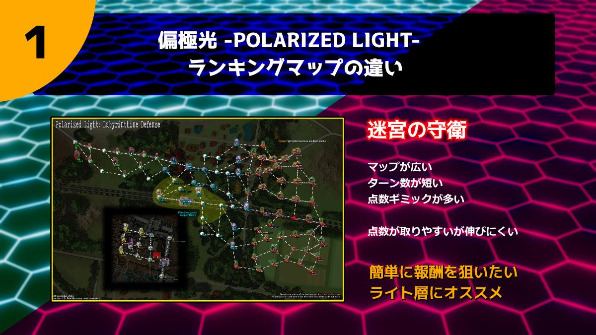 偏極光 -POLARIZED LIGHT- 昼ランキングマップ「迷宮の守衛」は点数が取りやすいが伸びにくいため、簡単に報酬を狙いたいライト層にオススメです。